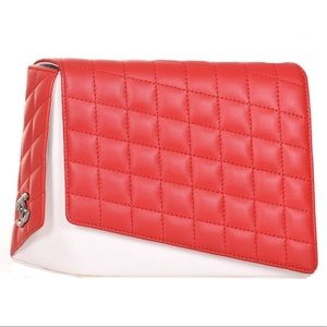 CHANEL Fresh Air Red & White Quilted Clutch Purse
